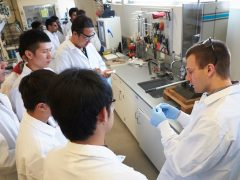 Research Assistant Ryan Milcarek teaching in the Combustion & Energy Research Lab