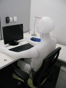 A photo of Simulation of the interaction between an individual and his/her environment by means of instrumented, breathing thermal manikins to test total indoor air quality in the built environment.