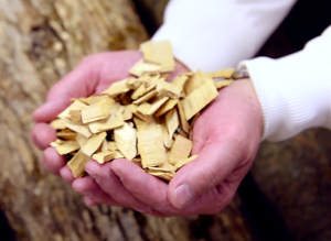 A photo of woodchips, which are used to develop renewable energy such as biofuels