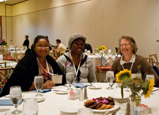 Photo of conference guests at lunch