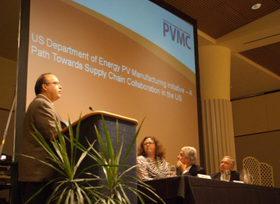 Photo of a panel at a presentation called US Department of Energy PB Manufacturing Initiative - A Path Towards Supply Chain Collaboration in the US