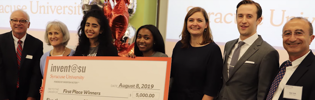 Photo of a winning student entrepreneurial team